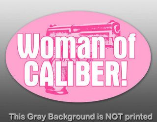 PINK Woman of Caliber Oval Sticker   decal gun girl fun female hunting