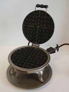 Vintage Manning Bowman Electric Round Waffle Maker Art Deco Stand