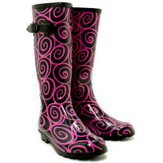 NEW WOMENS FESTIVAL WELLY WELLIES WELLINGTON FLAT KNEE HIGH RAIN BOOTS