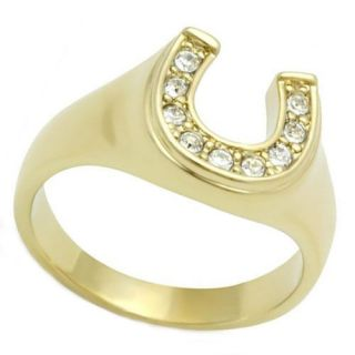 Lucky Horse Shoe Ladies Yellow Gold Plated Ring