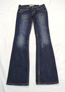MEK DENIM New OAXACA Bootcut Distressed Dark Blue Jeans Size 27 x 34
