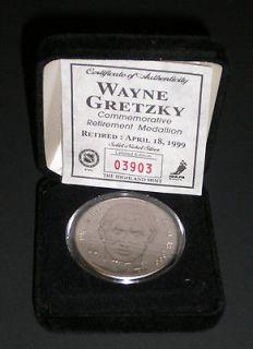 1999 WAYNE GRETZKY Retirement Commemorative Silver Medallion Apr 18