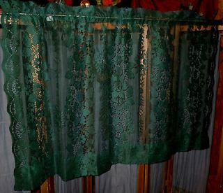 Vintage French Lace Curtain Panel Filet Net Kitchen Window