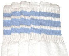 Newly listed 14 Kids WHITE Tube Socks with Baby Blue Stripes style 1