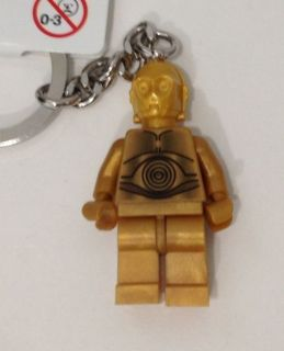 Brand New LEGO Star Wars Gold C3 PO Minifigure Key Chain Tag Limited
