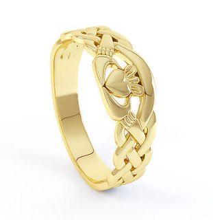 14K YELLOW GOLD MENS IRISH CELTIC CLADDAGH RING Sz 11