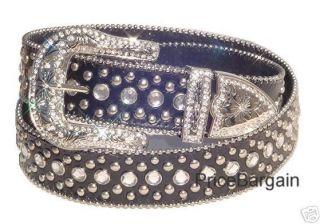 Women Western Rhinestone Crystal Black Leather BELT Stud L   Free US