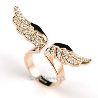 Angel Wing Rose Gold Plat Ring use Swarovski Crystal UK size J, M,O,Q