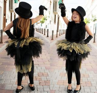 Girly Girl Childs Kids Black Gold TuTu Party Dress Up Party Skirt 8 9