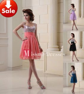 Strap Coral Beads Chiffon Short Homecoming Party Prom dresses 2013