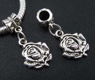 8pcs Tibetan Silver Love Rose Dangles Charms Beads Fit European
