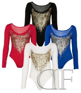 NEW LADIES WOMENS SEQUIN GLITTER LONG SLEEVE BODYSUIT TOP BLACK RED