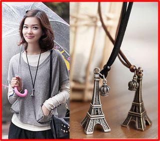 Women Fashion Vintage Retro Eiffel Tower Necklace Sweater Chain