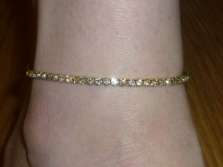Gold Tone Rhinestone Anklet / Ankle Bracelet Elasticated *NEW*