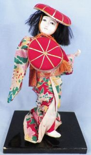 Vintage Japanese Geisha Girl Doll with Drum Gofun Paste Face A Beauty