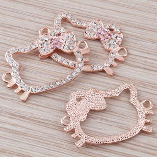 Wholesale 100Pc Rose Gold Hello Kitty Crystal Bracelet Connector