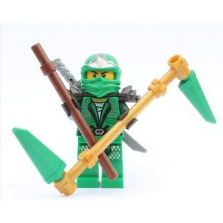 LEGO NINJAGO MINIFIGURE LLOYD ZX GREEN NINJA +WEAPONS PACK 9574 9450