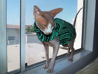 Sphynx Swag *Green Geometric* Designer Hairless Cat Shirt/ Sweater