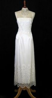 NWT Jessica McClintock White Embroidered Netting over Satin Wedding
