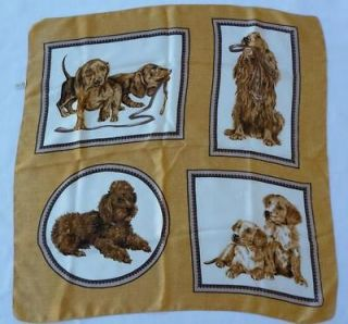 Vintage SCARF DOGS Puppies Poodle Doxie Dachshund Cocker Spaniel
