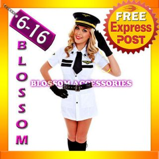 G13 Ladies Top Gun Captain Pilot Officer Fancy Dress Army Air Hostess