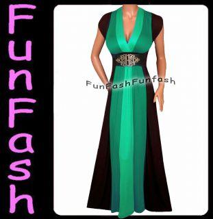 HH2 FUNFASH EMERALD GREEN BLACK COLOR BLOCK MAXI DRESS WOMEN Plus Size
