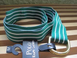 Polo Ralph Lauren RL67 Grosgrain Ribbon Striped Belt Medium Green