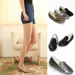 New Fashion Ladies Womens Loafers Shoes Flat Spike Punk Studded Point