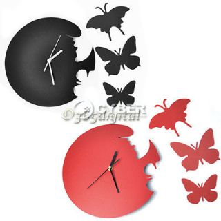 New Wall Clock Decor Home Art Design Modern Style Time Large Butterfly