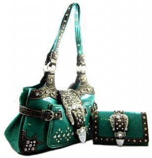 Western Cowgirl Rhinestone Belt Buckle Stud Purse Handbag Wallet SET