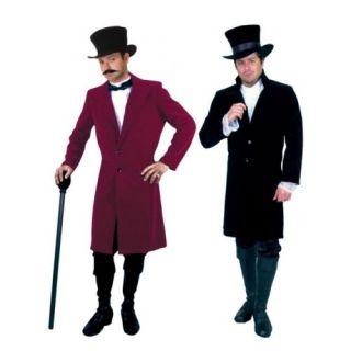 ADULT MENS BLACK RED GENTLEMAN JIM FROCK COAT 19TH CENTURY VICTORIAN