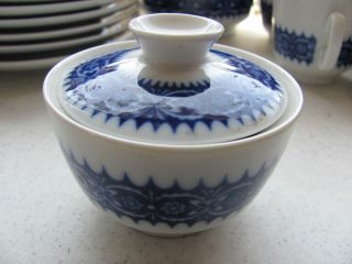 Winterling blue white lidded sugar bowl Echt Kobalt Bavaria