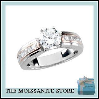 ROUND MOISSANITE & SQUARE CUT DIAMOND WHITE & ROSE GOLD WEDDING RING