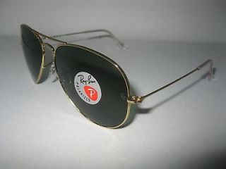 New Ray Ban Aviator 3025 Gold 001/58 Polarized Sunglasses 100%