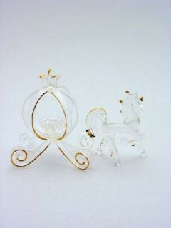 24k Gold Accented Glass Cinderella Pumpkin Coach Wedding Cake Topper