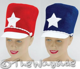 MAJORETTE HATS RED OR BLUE   FANCY DRESS PARADE CARNIVAL BAND MARCH