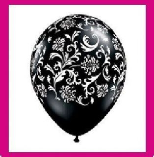 BLACK WHITE PRINT damask party balloons latex WEDDING
