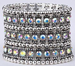 Clear AB swarovski crystal stretch bracelet 3 row A1 ;matching ring