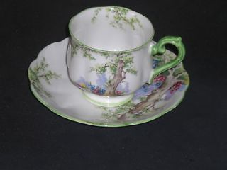 ROYAL ALBERT GREENWOOD TREE CROWN CHINA TEACUP & SAUCER CHIPPED