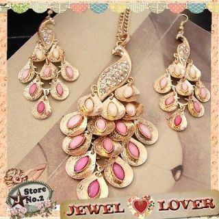 Purple Peacock Pendant Charm Jingle Gold Tone Necklace + Earrings Set