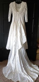 NWT Jessica McClintock Ivory Gold Satin Floral Wedding Gown Size 8
