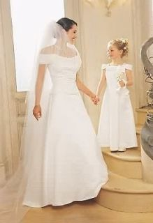 NWT Jessica McClintock Ivory Satin Embroidered Bridal Wedding Gown