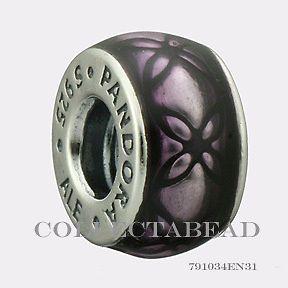 Authentic Pandora Sterling Silver Murano Black and Purple Enamel