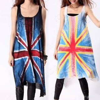 Top 2012 Women Union Jack Flag Print Vest Long Shirt Dress Tops Casual