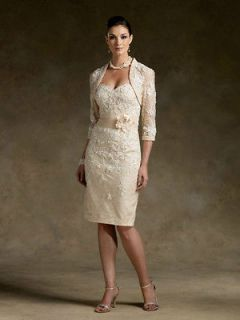 Short champagne Mother of the Bride dress Free Jacket Stock 6 8 10 12