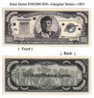 Gangster Jesse James $100,000 Dollars Notes Lot of 25