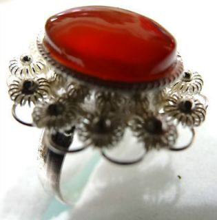 Silver 925 Yemeni Carnelian agate Women Ring, dark Red agate, Aqeeq