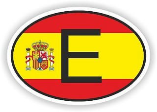 SPAIN COUNTRY CODE OVAL WITH SPANISH FLAG STICKER bumper decal car