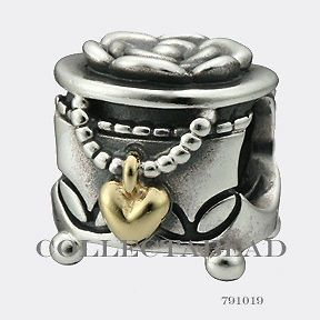 Newly listed Authentic Pandora Silver & 14k Gold Jewelry Box Bead