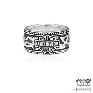 Harley Davidson Mens Tribal Silver Band Ring HDR0239